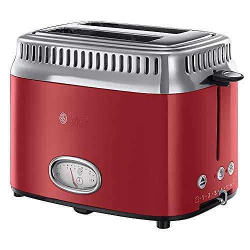 Russel Hobbs Retro Ribbon Red   Vermogen van 1300 W   65% sneller brood roosteren   Met broodjeswarmer en ontdooifunctie