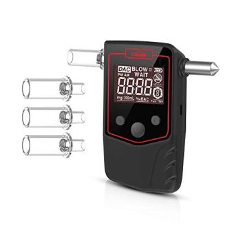 Oasser Etilometro Portatile Certificato Alcool Tester Digitale Schermo LCD Sensore Semiconduttore con 4 Boccagli con Martello di sicurezza T6