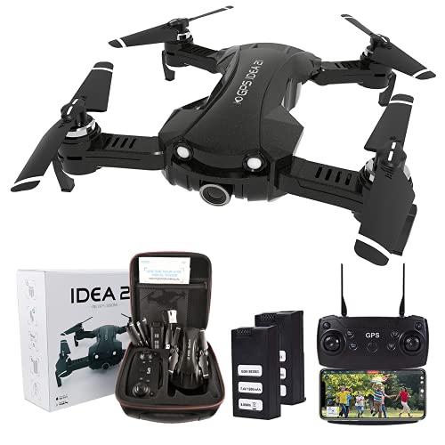 le-idea Drone Professionale con Telecamera 4K HD, 5GHz Wifi FPV HD Trasmissione Video con Camera Professionale, Follow me per Principianti e Bambini, Droni Pieghevole Quadcopter GPS con 2 Batterie