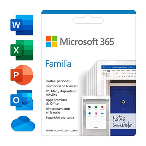 Microsoft 365 Familia | Suscripción anual | Para 6 PCs o Macs, 6 tabletas incluyendo iPad, Android, o Windows, además de 6 teléfonos | Box