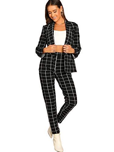 SheIn Women's Two Piece Plaid Open Front Long Sleeve Blazer and Elastic Waist Pant Set Suit Large Black