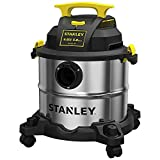 STANLEY Wet/Dry Vacuum SL18115, Stainless Steel Tank, 5 Gallon 4HP Shop Vacuum, Portable Style Ideal for Home/Shop/Jobsite Dust Collection Job with Vacuum Attachments, Silver+Yellow
