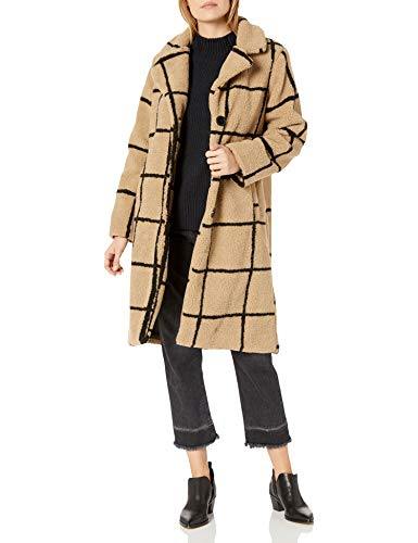 Jessica Simpson Women's Fashion Outerwear Jacket, Windowpane Sherpa Beige/Black, L