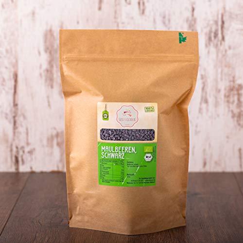 süssundclever.de® Bio Maulbeeren   schwarz   1 kg   aus Deutschland   Rohkostqualität - 100% naturbelassen   plastikfrei und ökologisch-nachhaltig abgepackt