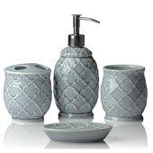 Conjunto de 4 Accesorios de baño de cerámica de diseño | Incluye jabón líquido o loción con portacepillos, Vidrio, jabonera | Celosía marroquí | Gris