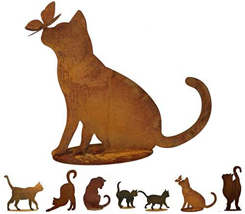 Gartenfigur Rost auf festem Stand – Hochwertig & Wetterfest - Metall Tierfigur - Edelrost Dekofigur / Tier Figur – Gartendeko / Dekoration (Katze III - Höhe 42cm)