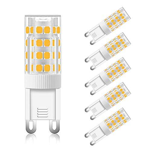 Lampadina G9 LED 5W Luce Fredda 6000K, 5W Equivalente Alogena G9 40W 50W, 500LM, AC 220-240V, non-dimmerabile, Lampadine LED G9 Fredda per Lampadario, Lampade da Parete, set di 6