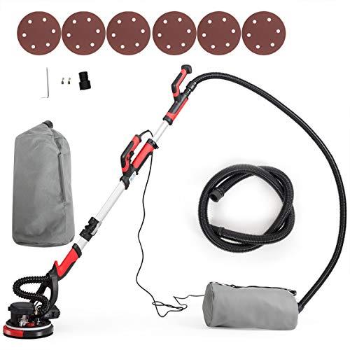 COSTWAY Trockenbauschleifer, Deckenschleifer Staubsammelsystem, Wandschleifmaschine / 750W / Ø225mm / inkl. 6 Schleifscheiben/LED-Licht / 900-1800 U/min