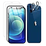 【2+2 セット】iPhone 12 mini ガラスフィルム+iPhone 12 mini カメラフィルム 【ガイド枠付……