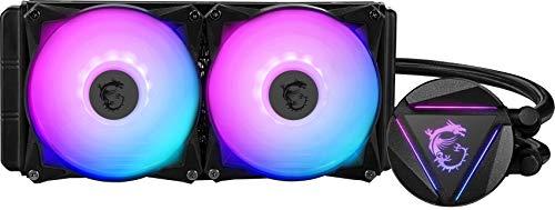 MSI MAG CoreLiquid 240R Dissipatore CPU a liquido con radiatore da 240mm ARGB, 2 ventole PWM 120mm, compatibile Intel/AMD, fino a 70.000 ore di utilizzo, testata con logo rotabile, Mystic Light