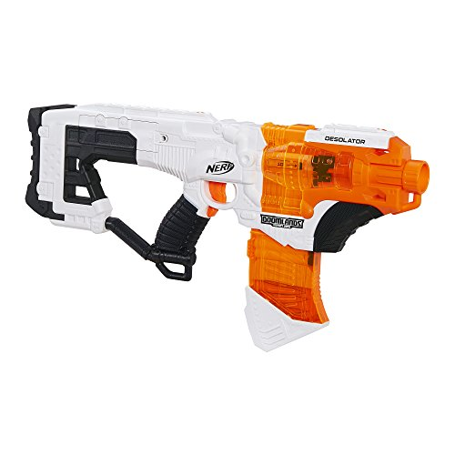 NERF Desolator Doomlands Toy Blaster with 10-Dart Clip and 10 Official Doomlands Elite Darts for Kids, Teens, and Adults, Multicolor