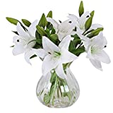 MEIWO Fleurs Artificielles, 5 Pcs Real Touch Latex Artificial Lilies Flowers...