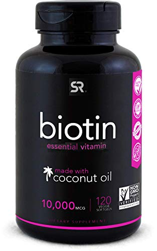 Biotin (10,000mcg) with Organic Coconut Oil   Supports Healthy Hair, Skin & Nails   Non-GMO Verified & Vegan Certified (120 Veggie-Softgels)