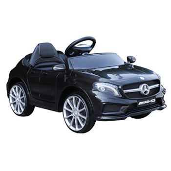 HOMCOM Compatible for 6V Kids Ride On Car Mercedes Benz GLA Licensed Toy toddler with Music Remote Control Rechargeable Headlight Two Speed Black
