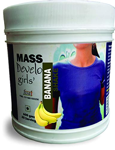 Develo Weight Mass Gainer Protein Shake Powder for Fast Gain in women girls, Nutrition Food Supplement, Health Drink with Natural Fat Energy I 27 Vitamins & Minerals I 600gm Banana Shake Flavour