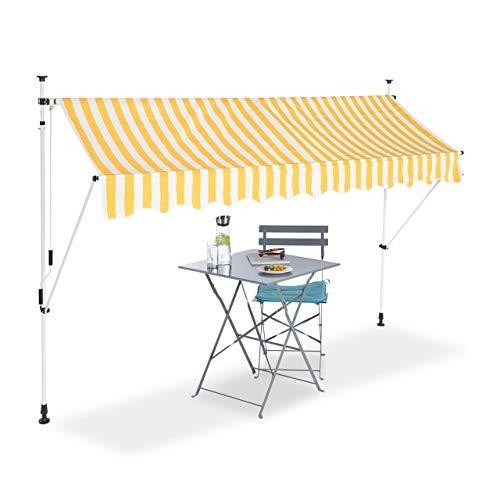 Relaxdays Klemmmarkise, Balkon Sonnenschutz, einziehbar, Fallarm, ohne Bohren, höhenverstellbar, 300 cm breit, gelb gestreift
