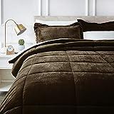 AmazonBasics Ultra-Soft Micromink Sherpa Comforter Bed Set, King, Chocolate - 3-Piece