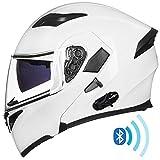 ILM Bluetooth Motorcycle Helmet Modular Flip up Full Face Dual Visor Mp3 Intercom FM Radio DOT Approved (White, XL)