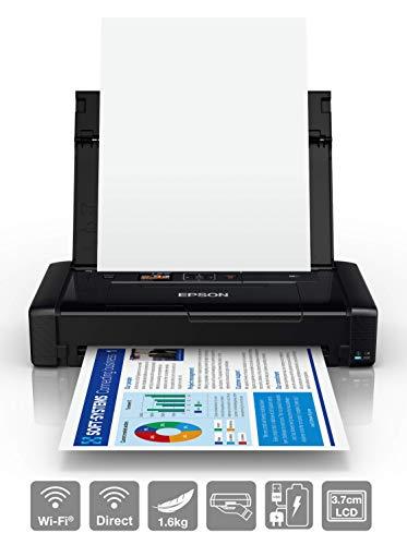 Epson Workforce Wf-110W, Stampante A4 Portatile Inkjet, Connettivit Wi-Fi e Wi-Fi Direct, Batteria Integrata, Nero