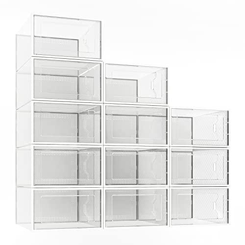 12 Pack Shoe Storage Box, Clear Plastic Stackable Shoe Organizer...