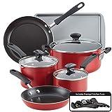 Farberware Cookstart Aluminum DiamondMax Nonstick Cookware Set, 15-Piece (Red)