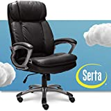 Serta Faux Big & Tall Executive Office Chair High Back All Day Comfort Ergonomic Lumbar Support, Bonded Leather, Black