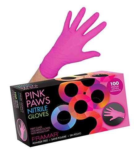 Framar Pink Paws Nitrile Gloves, Powder Free, Latex Rubber Free, Disposable Gloves – Non Sterile, Food Safe, Medical Grade, Convenient Dispenser Pack of 100, (Extra Strength) (Medium)