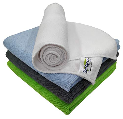 SOFTSPUN Microfiber Cleaning Cloths, 4pcs 40x40cms 340GSM Multi-Colour! Highly Absorbent, Lint and Streak Free, Multi -Purpose Wash Cloth for Kitchen, Car, Window, Stainless Steel, silverware.