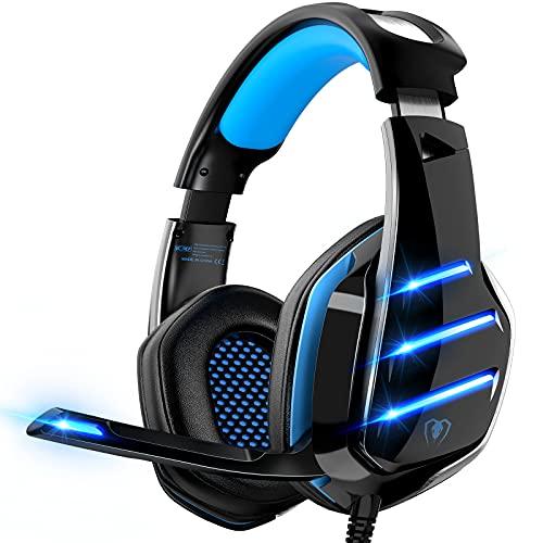 Auriculares para Videojuegos para PS4, PS5, PC, Xbox One, PS4, Auriculares con micrófono, Sonido Envolvente, Graves y cancelación de Ruido, Luces LED