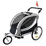 Clevr Deluxe 3-in-1 Double 2 Seat Bicycle Bike Trailer Jogger Stroller for Kids Children | Foldable w/Pivot Front Wheel, Grey