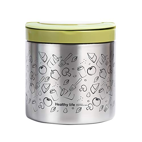 Vacuum Insulated Food Jar 22 Ounce Lunch Thermos with Handles, Portable Stainless Steel Lunch Containers, Stay Hot for 5h Cold for 10h, Green