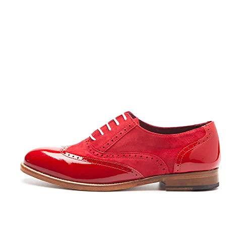 Beatnik Shoes Zapatos de Cordones Oxford de Mujer Rojos en Piel Acharolada y Ante Beatnik Lena Too Red, Talla : 42