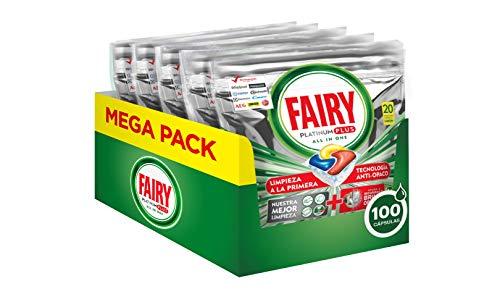 Fairy Platinum Plus Tutto in Uno Detersivo Capsule Lavastoviglie, 100 Cicli (5 x 20 Pastiglie), Maxi Formato, Limone, Brillantezza Originale, Tecnologia Anti-Opaco