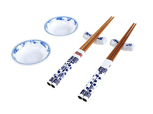 Jogo para comida japonesa 6 peças, haüskraft jgjp-001, marrom com branco e estampa azul/branca com detalhe azul/branco com detalhe azul haüskraft multicor no voltagev
