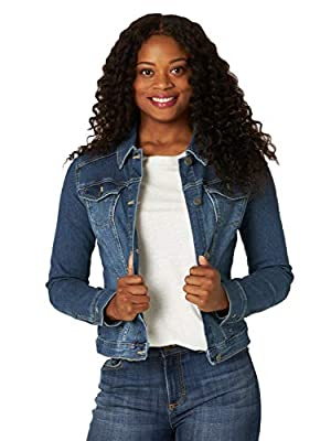 "Features cropped length silhouette (19.25"" at center back ) ALL DAY COMFORT. Crafted from a premium mix of materials to create a classic denim jacket with a unique feel. Guaranteed to provide all day comfort while looking stylish. FUNCTIONAL STYLE. M..."