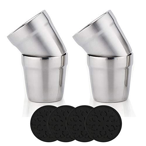 Bicchieri in Acciaio Inox+Sottobicchiere in Silicone (Set di 4)Impilabili, Tazza da caffè/Tazza da tè/Bicchieri da Birra per Abbattere, Per i viaggi, Outdoor, Camping e tutti i giorni, 6oz(175ml)