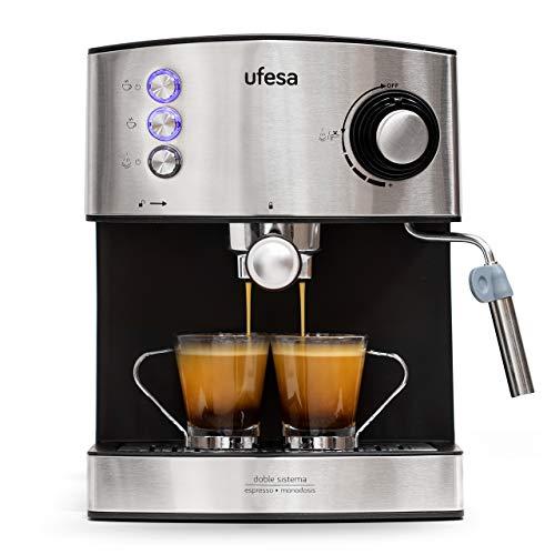 Ufesa CE7240 Macchina caffè espresso, 850 W, Serbatoio estraibile da 1,6 L, 20 bar, 2 opzioni d'uso: Come macchina da caffè cialde o macchina da caffè macinato, Vaporizzatore regolabile