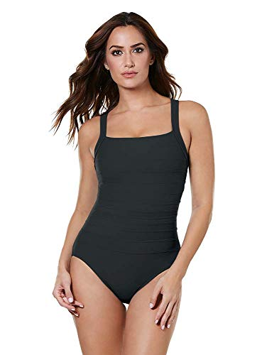 412ZMup9DTL Look 10 lbs. lighter in 10 seconds with Miraclesuit. Our exclusive Miratex® fabric slims and slenderizes without panels or linings for total full body shaping and control. Square neckline with underwire bra provides subtle shaping and creates an hourglass shape, but won't ever reveal too much. Perfect for larger bust sizes. Tummy control design flattens your midsection in an instant, smoothing out lumps and bumps. The subtle stripes on this solid colored swimsuit provide even more slimming qualities that are subtle yet effective. It's the most comfortable and flattering thing you can possibly wear at the beach or pool.