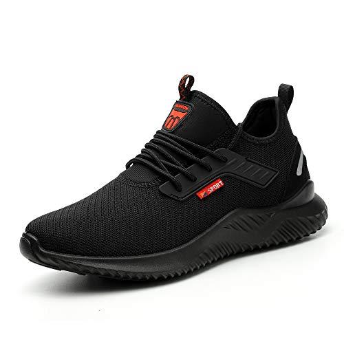 Ulogu Sicherheitsschuhe Herren Arbeitsschuhe Damen Leicht Atmungsaktiv Schutzschuhe Stahlkappe Sneaker Wanderschuhe 42 EU Schwarz#8