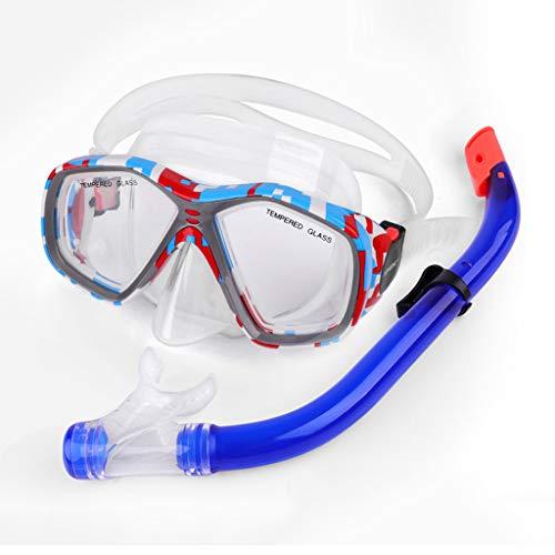 JS Attrezzatura per Lo Snorkeling, Occhiali da Sub per Adulti per Bambini Semi-asciutti Set per Snorkeling, Occhiali da Immersione Subacquei Stampati Impermeabili E Impermeabili Personalizzati