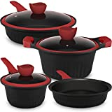 Lightning Deal Pots and Pans Set,Multilayer Non-Stick Coating from Germany, Induction Cookware,Cool Silicone Handles & Steam Releasing Silicione lid,Dishwasher Safe,PFOA Free,Mother's Day Gifts,7Pcs