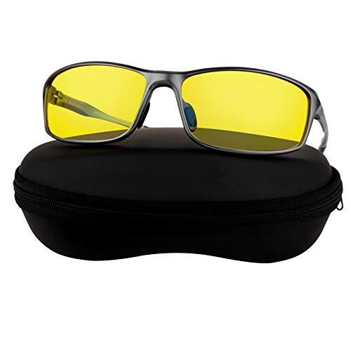 Aluminum Night Driving Glasses Anti Glare Polarized - Night Vision Glasses for Driving Biking Fishing | Yellow Tint Polarized Lens Night Glasses for Men & Women, Aluminum Frame | Case + Cloth Included