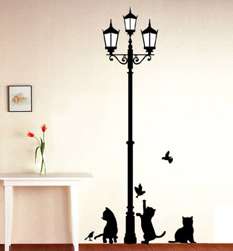 Black Cat & Lamp Picture Art Peel & Stick Wall Sticker DIY Vinyl Wall Decal Applique 33x60cm + 1 FREE Surprise Sticker