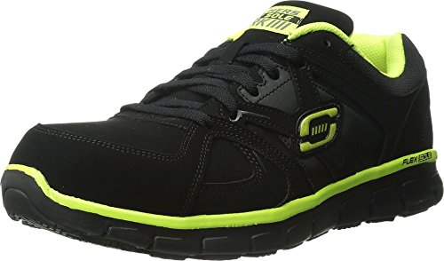 Skechers for Work Men's Synergy Ekron Work Shoe,Black/Lime,7 W US