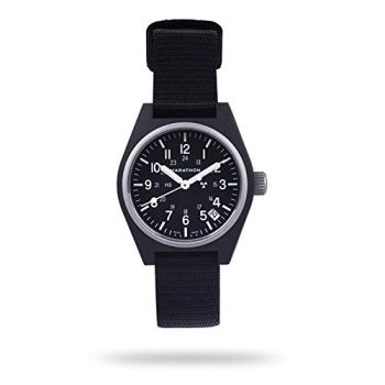 Marathon General Purpose Quartz Swiss Made Military Field Army Watch with Date (GPQ), Tritium, and Sapphire Crystal (34mm, Black, No Government Markings) WW194015-BK-NGM