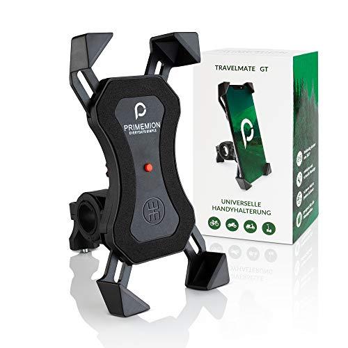 PRIMEMION - Stabile Handyhalterung Fahrrad & Motorrad | Universal Fahrrad Handyhalterung mit 360° Kugelgelenk | Motorrad Handyhalterung mit Innovativer Schließfunktion