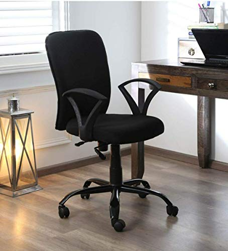 AB DESIGNS DESIGNS STARTS HERE® - Office Chair/Study Chair/revolving Chair/Computer Chair for Home Work Executive mid Back Base Metal Powder Coated seat Height Adjustable & Comfortable Fixed armrest