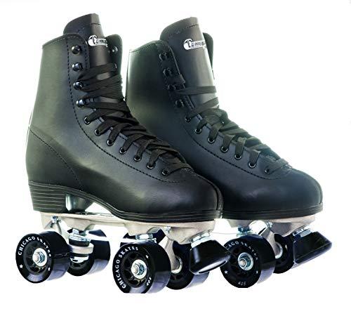 Chicago Skates - Patines de ruedas forrados en cuero para hombres, color negro, tamaño, tamaño 5