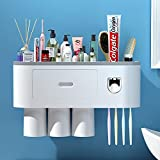 Toothbrush Holders for Bathrooms, Automatic Toothpaste Dispenser, Toothbrush Holder Wall Mounted, Free Up Your Counter Space, Magnetic Upside Down Design. Electric Toothbrush Holder. (3 Cups)