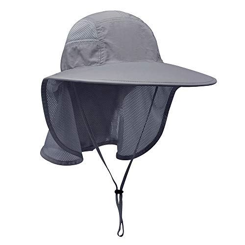 Lenikis Unisex Outdoor Activities UV Protecting Sun Hats with Neck Flap Black Grey